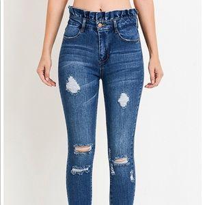Denim - High waisted paper bag jeans